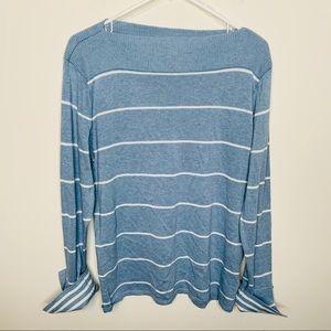 Chaps Boatneck Blue White Striped Sweater L